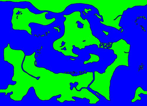 Map, land (green) and sea (blue)